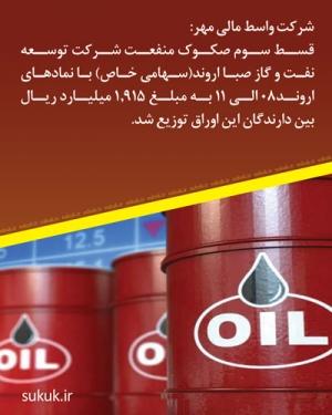 قسط سوم صکوک منفعت شرکت توسعه نفت و گاز صبا اروند(سهامی خاص) با نمادهای اروند08 الی 11